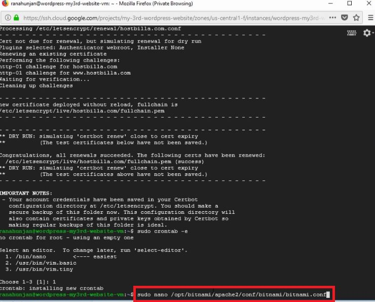 install free SSL certificate -bitnami wordpress-Google cloud platform